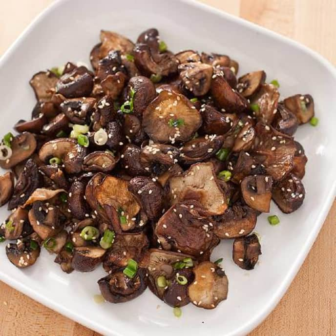 Roasted Mushrooms with Sesame and Scallions
