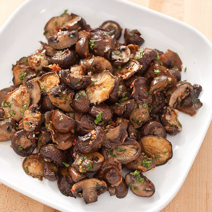 Roasted Mushrooms with Harissa and Mint