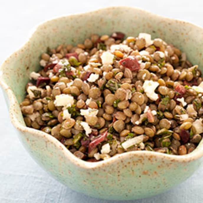 Lentil Salad with Spinach, Walnuts, and Parmesan Cheese