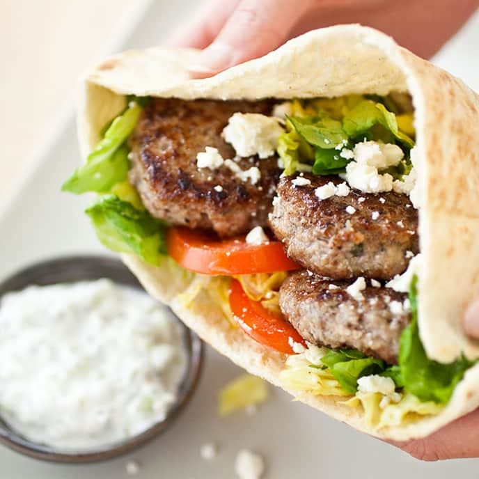Greek-Style Lamb Pita Sandwiches with Tzatziki Sauce—Gyros