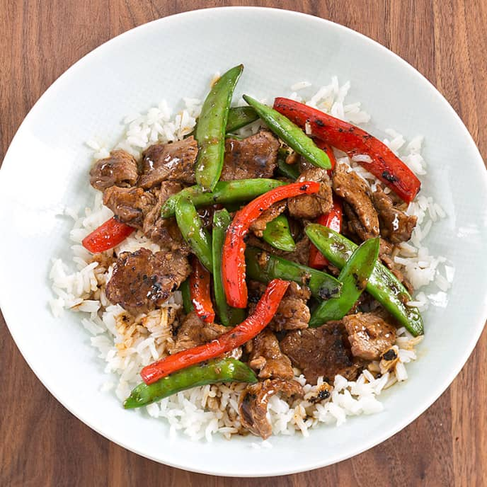 Stir-Fried Beef with Snap Peas and Red Peppers For Two