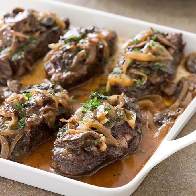 Baked Steak with Onions and Mushrooms
