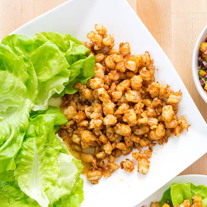 Spicy Shrimp Lettuce Wraps with Mango Salsa