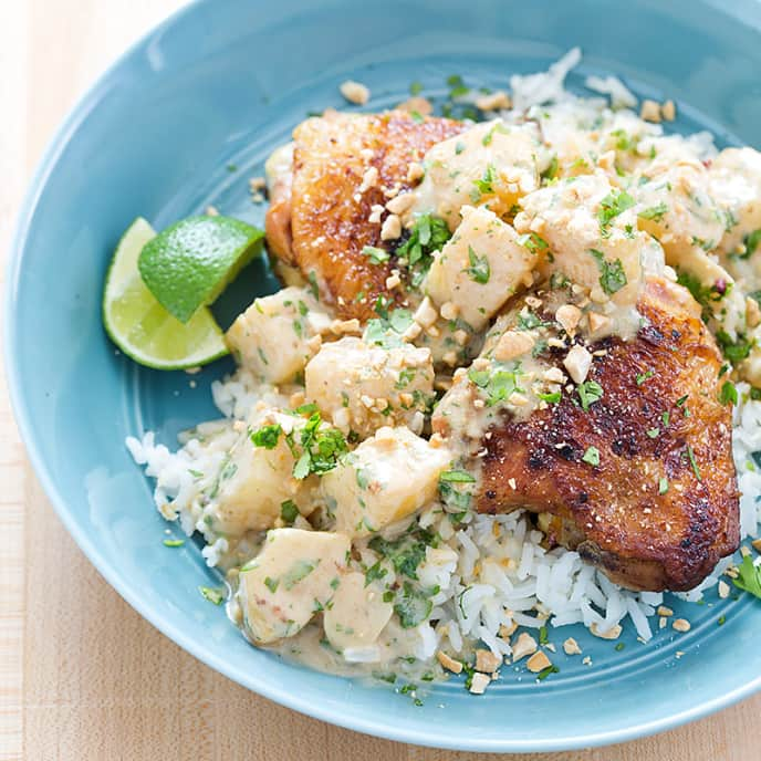 Jerk Chicken Thighs with Coconut-Cilantro Sauce