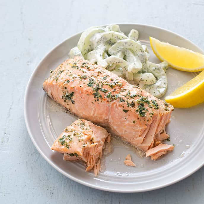 Poached Salmon with Herb and Caper Vinaigrette
