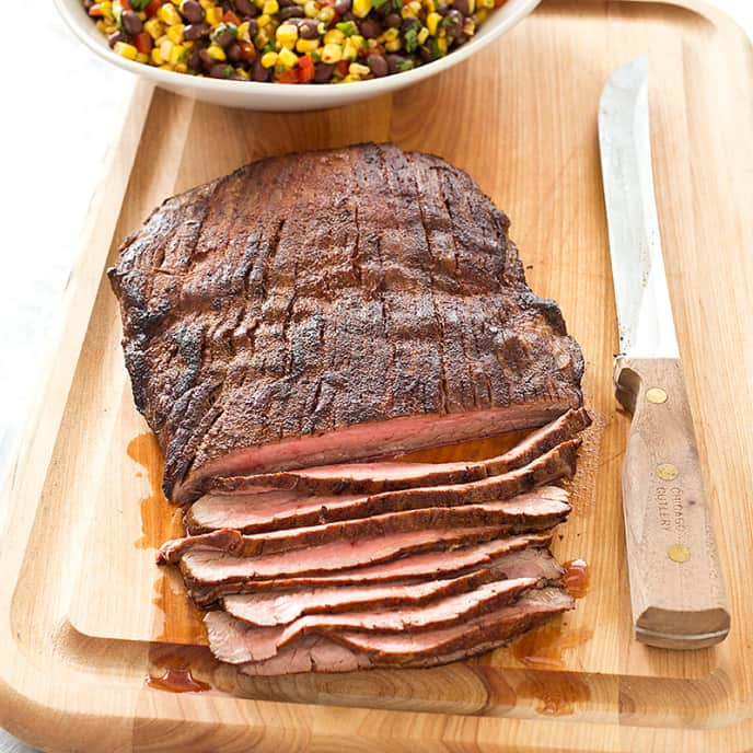 Spice-Rubbed Flank Steak with Roasted Corn and Black Bean Salsa