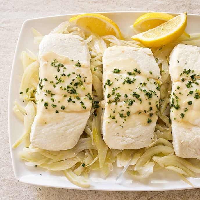 Braised Halibut with Fennel and Tarragon for Two