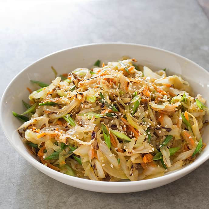Sautéed Cabbage with Miso and Scallions