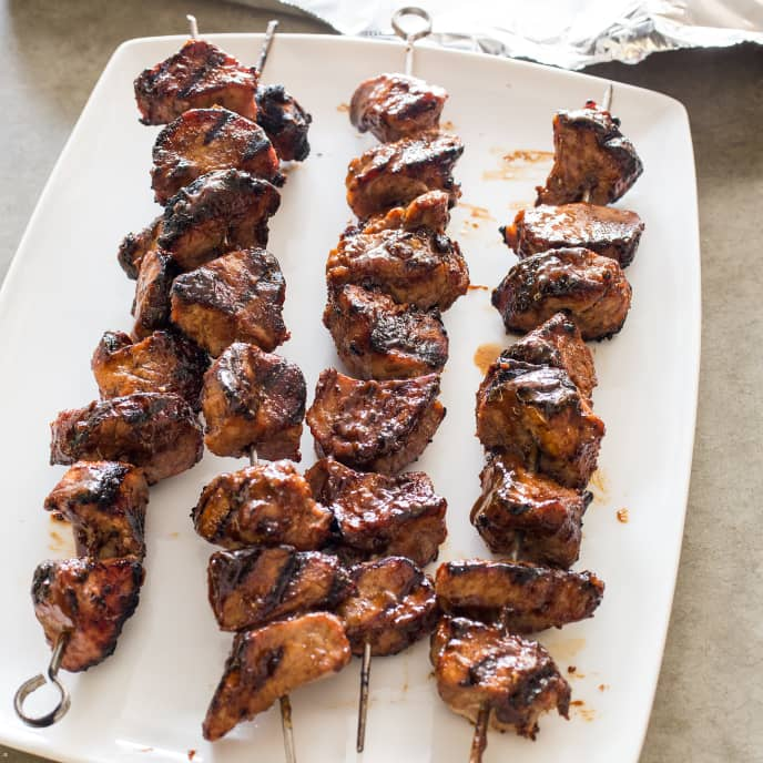 Grilled Pork Kebabs with Barbecue Glaze