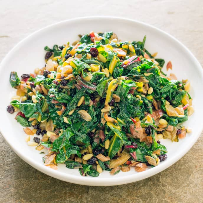Sautéed Swiss Chard with Currants and Pine Nuts