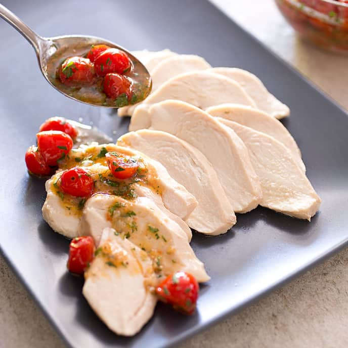 Perfect Poached Chicken Breasts for Two