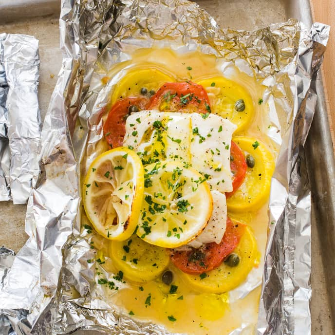 Grilled Cod and Summer Squash Packets