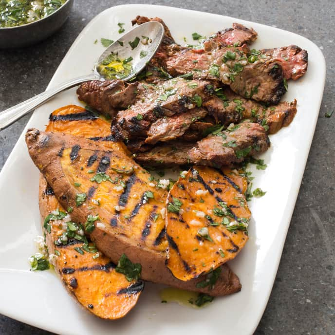 Grilled Skirt Steak and Sweet Potatoes