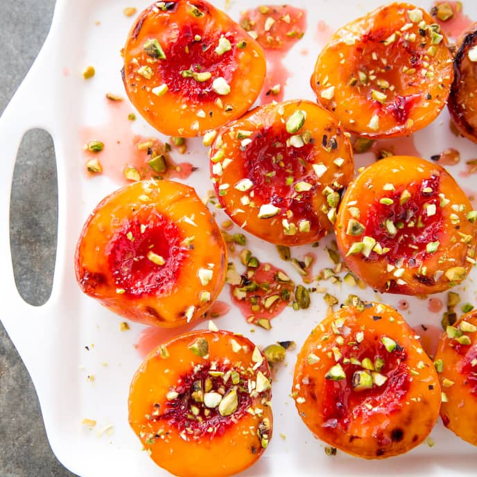 Raspberry-Glazed Peaches