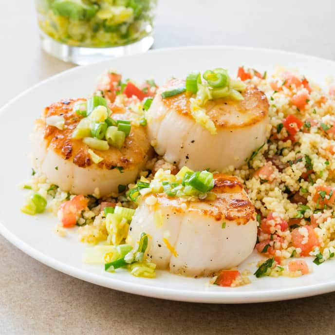 Seared Scallops with Pickled Peppers and Couscous