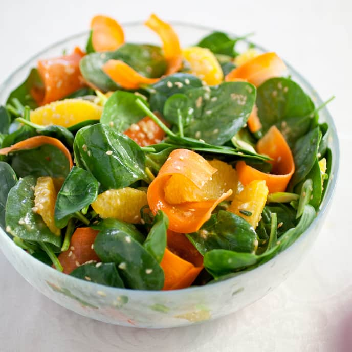 Spinach Salad with Carrot, Orange, and Sesame