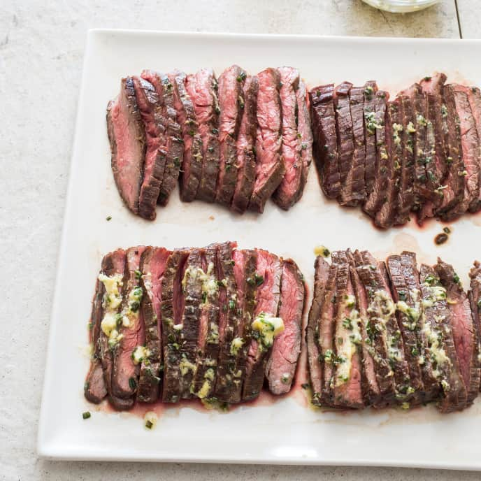 Pan-Seared Flank Steak with Garlic-Anchovy Butter