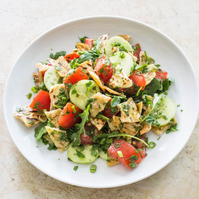 Fattoush (Pita Bread Salad with Tomatoes and Cucumber) for Two