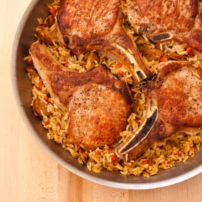 Pan-Seared Pork Chops with Dirty Rice