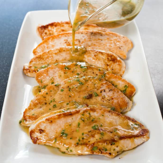 Honey-Mustard and Tarragon Pan Sauce for Turkey Cutlets
