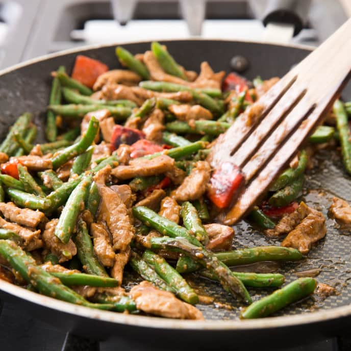 Stir-Fried Pork, Green Beans, and Red Bell Pepper with Gingery Oyster Sauce