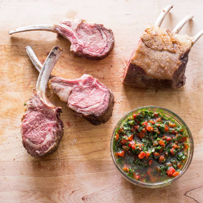 Roasted Rack of Lamb with Roasted Red Pepper Relish