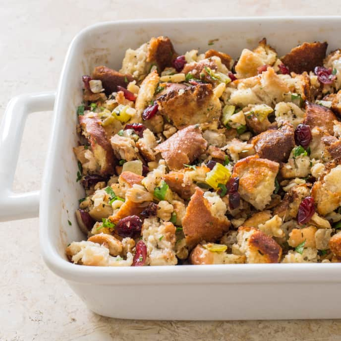 Rustic Bread Stuffing with Cranberries and Walnuts