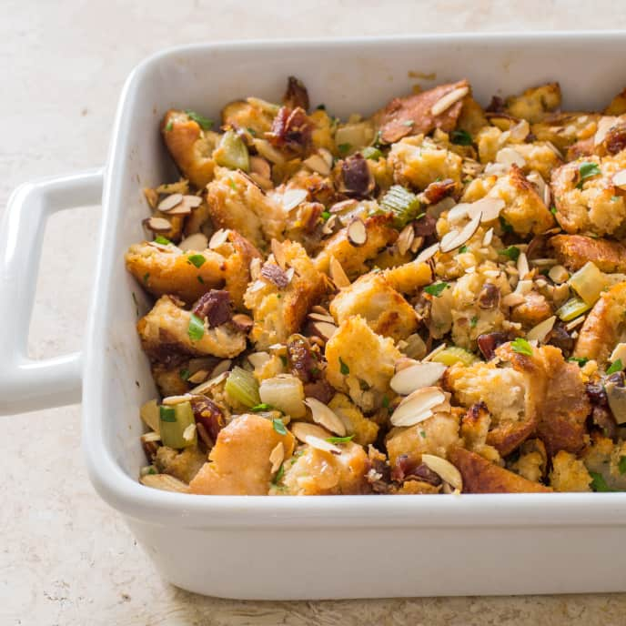 Rustic Bread Stuffing with Dates and Almonds