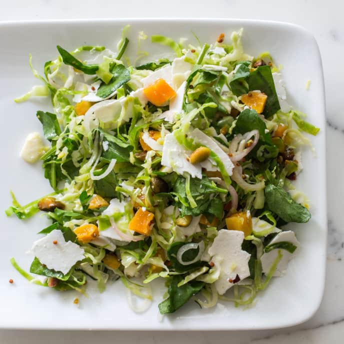 Brussels Sprout Salad with Warm Mustard Vinaigrette