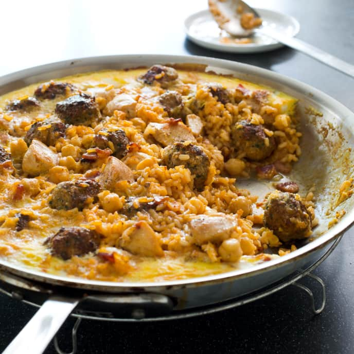 Skillet-Baked Rice with Chicken and Lemony Meatballs (Arroz con Costra)