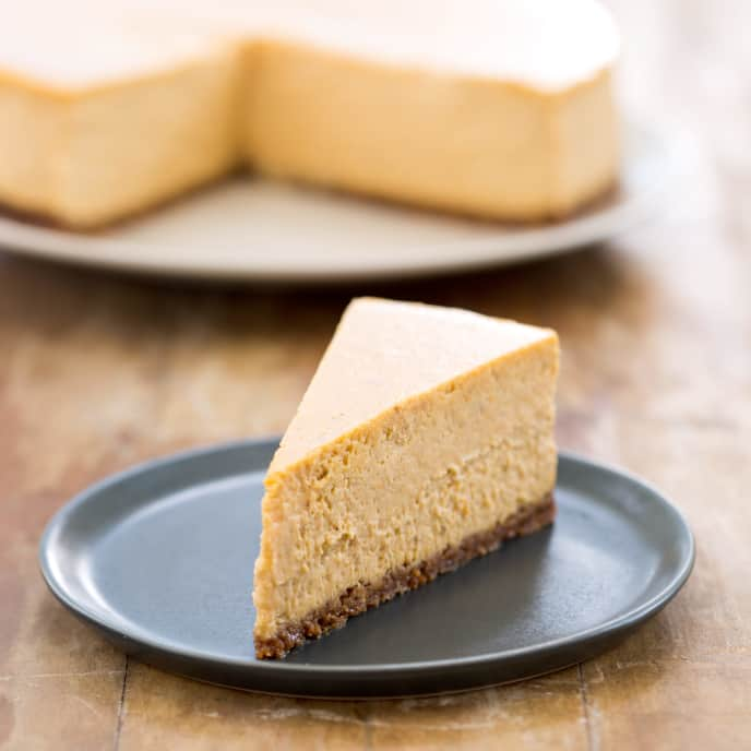 Pumpkin-Bourbon Cheesecake with Graham-Pecan Crust