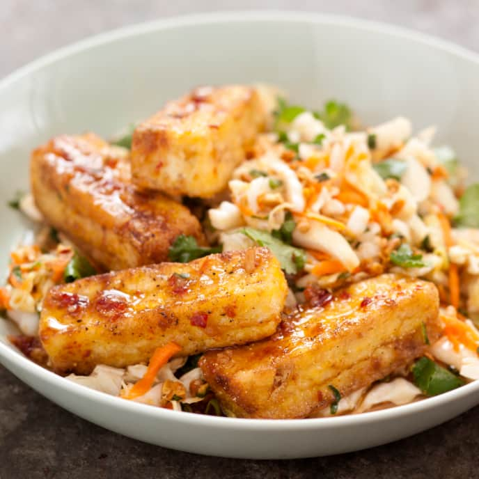 Warm Cabbage Salad with Crispy Tofu
