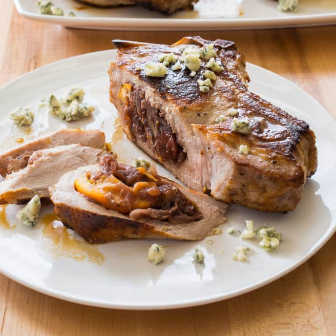 Stuffed Thick-Cut Pork Chops with Red Onion Jam Stuffing with Port, Pecans, and Dried Fruit