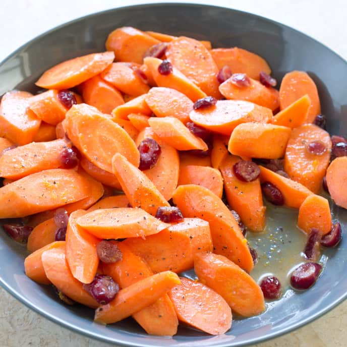 Glazed Carrots With Orange & Cranberries