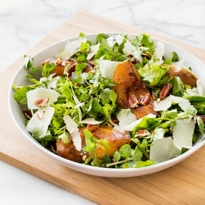 Pan-Roasted Pear Salad with Watercress, Parmesan, and Pecans