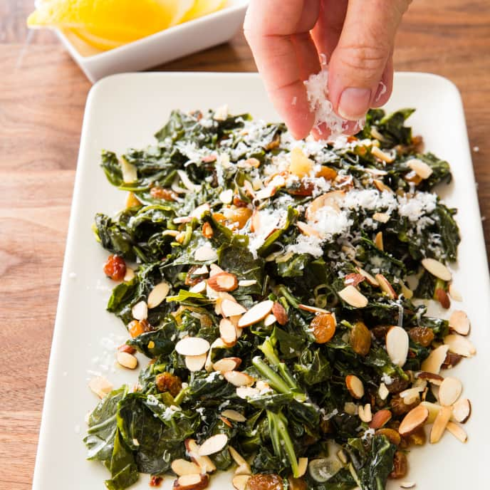 Collard Greens with Raisins and Almonds