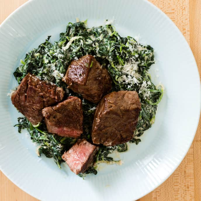 Sirloin Tips with Steakhouse Creamed Spinach