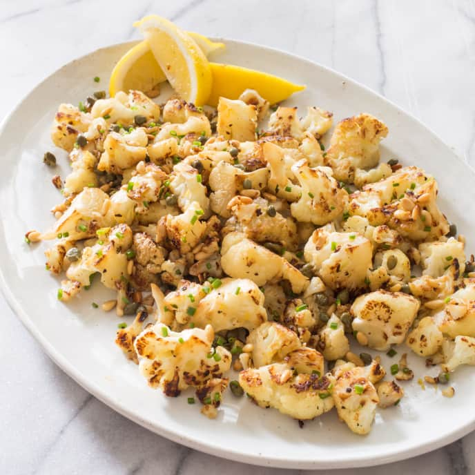 Skillet-Roasted Cauliflower with Capers and Pine Nuts for Two