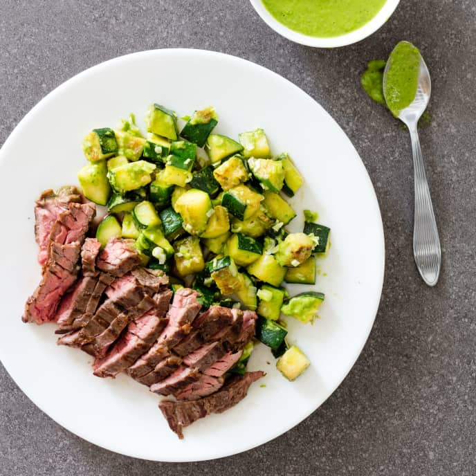 Pan-Seared Skirt Steak with Zucchini and Scallion Sauce