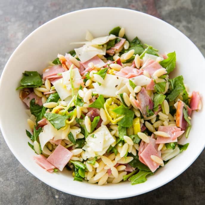Orzo Salad with Provolone, Capicola, and Mortadella