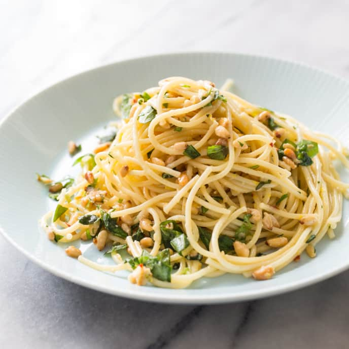 Garlicky Spaghetti with Lemon and Pine Nuts for Two