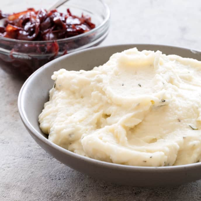 Mashed Potatoes with Blue Cheese and Port-Caramelized Onions