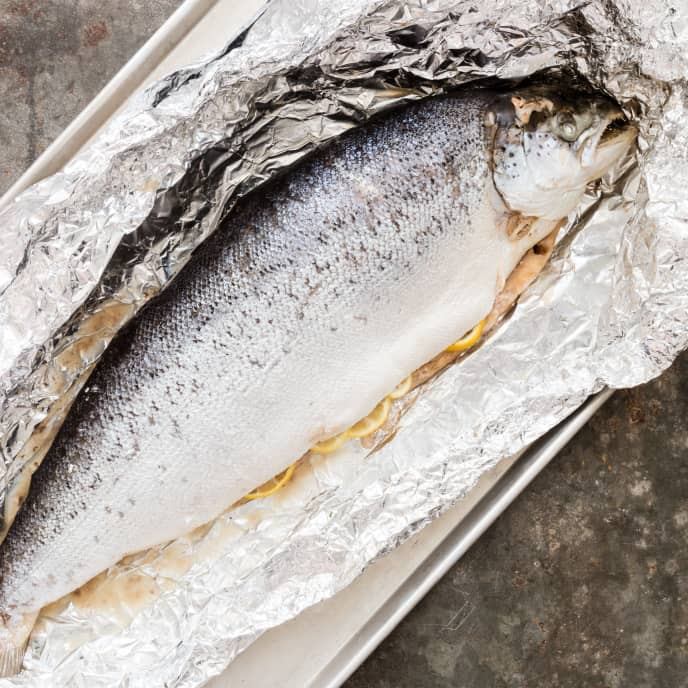 Oven Poached Whole Salmon