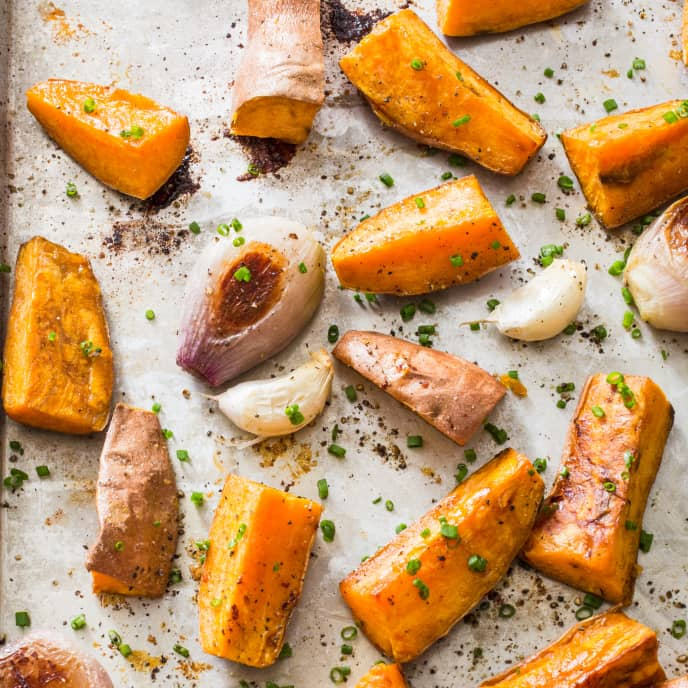Roasted Sweet Potatoes with Chives