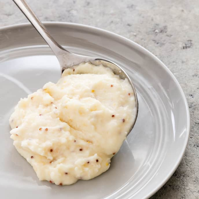 Mashed Potatoes with Smoked Cheddar and Grainy Mustard