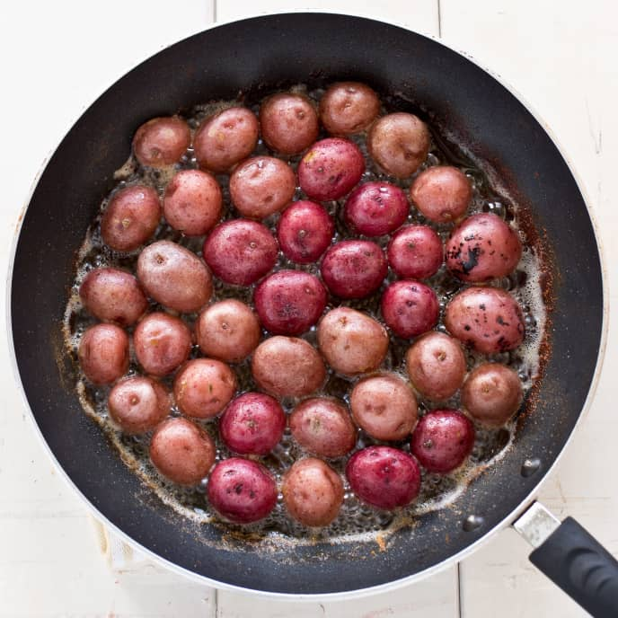 Braised Red Potatoes with Miso and Scallions