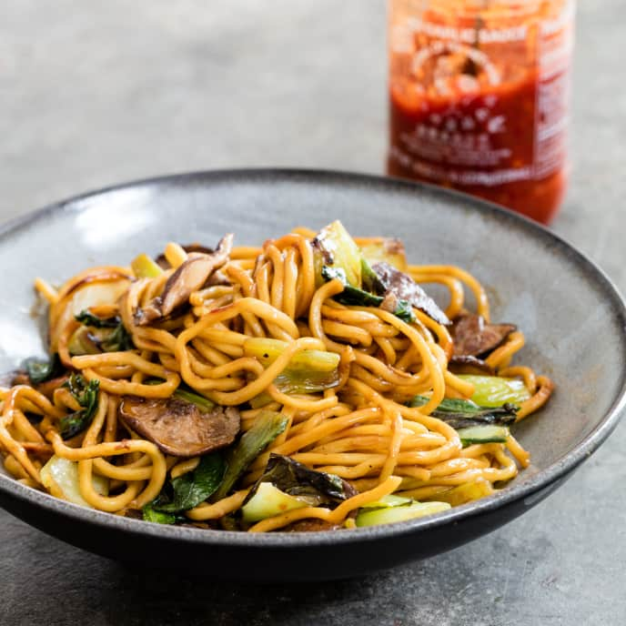 Shiitake and Bok Choy Lo Mein