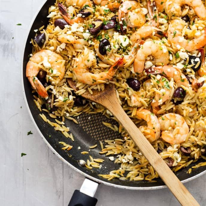 Lemony Shrimp with Orzo, Feta, and Olives