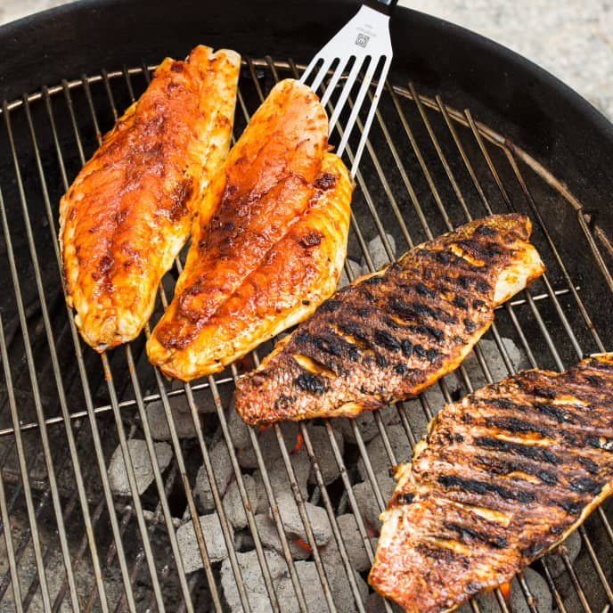 Charcoal-Grilled Blackened Red Snapper