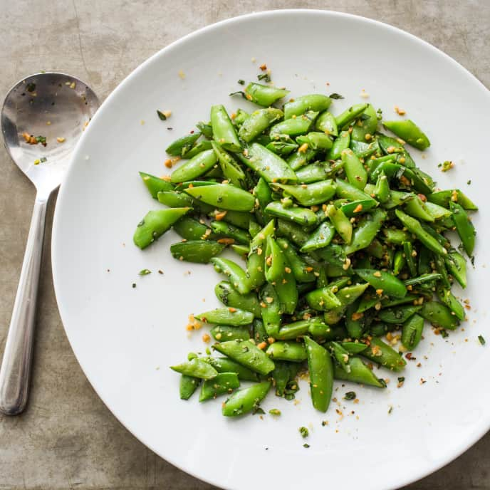 Sugar Snap Peas with Pine Nuts, Fennel, and Lemon Zest